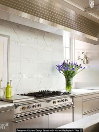 Awesome Kitchen Design Ideas With Marble Backsplash Tiles 28