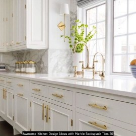 Awesome Kitchen Design Ideas With Marble Backsplash Tiles 30