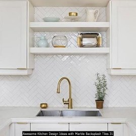 Awesome Kitchen Design Ideas With Marble Backsplash Tiles 31