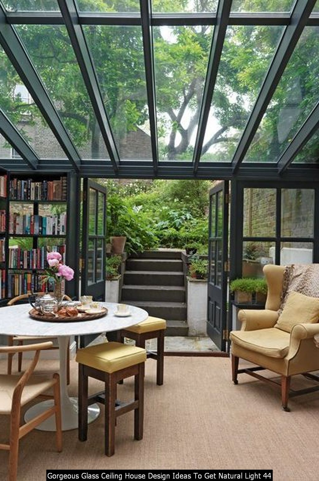 Gorgeous Glass Ceiling House Design Ideas To Get Natural Light 44
