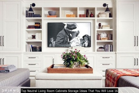 Top Neutral Living Room Cabinets Storage Ideas That You Will Love 16