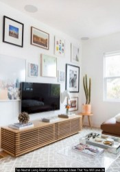 Top Neutral Living Room Cabinets Storage Ideas That You Will Love 26