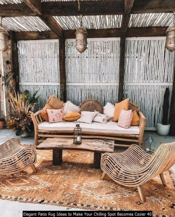 Elegant Patio Rug Ideas To Make Your Chilling Spot Becomes Cozier 40