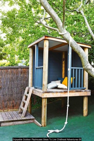 Enjoyable Outdoor Playhouses Ideas To Live Childhood Adventures 09