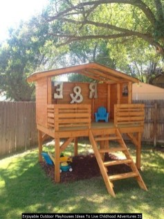 Enjoyable Outdoor Playhouses Ideas To Live Childhood Adventures 31