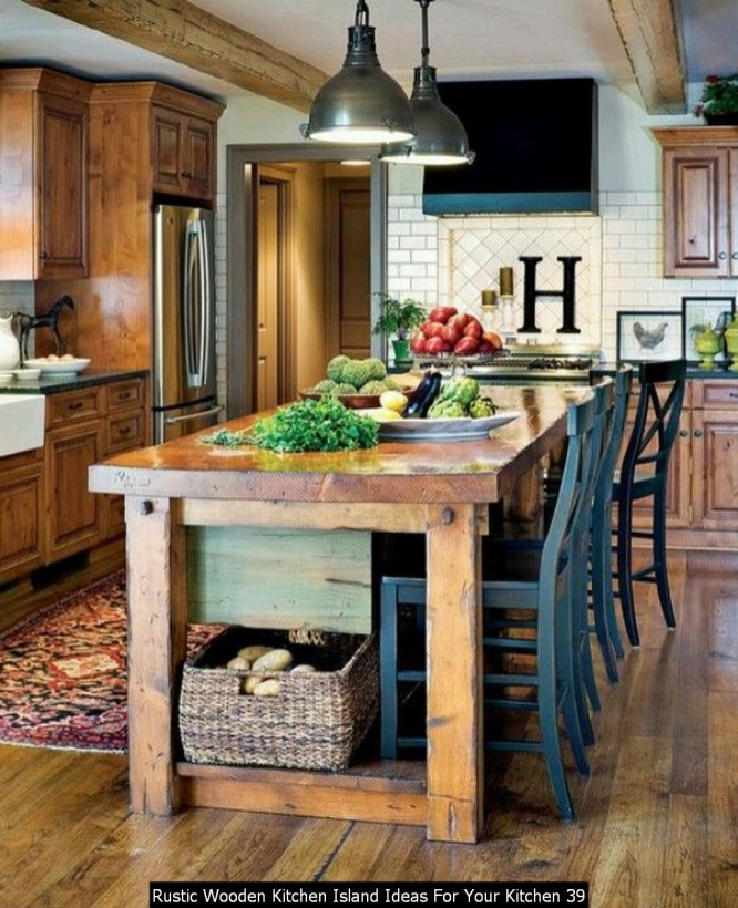 Rustic Wooden Kitchen Island Ideas For Your Kitchen 39