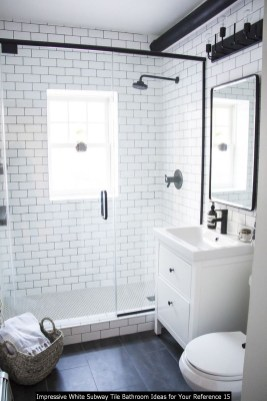 Impressive White Subway Tile Bathroom Ideas For Your Reference 15