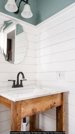 Impressive White Subway Tile Bathroom Ideas For Your Reference 29