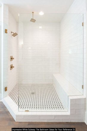 Impressive White Subway Tile Bathroom Ideas For Your Reference 31