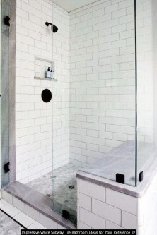 Impressive White Subway Tile Bathroom Ideas For Your Reference 37