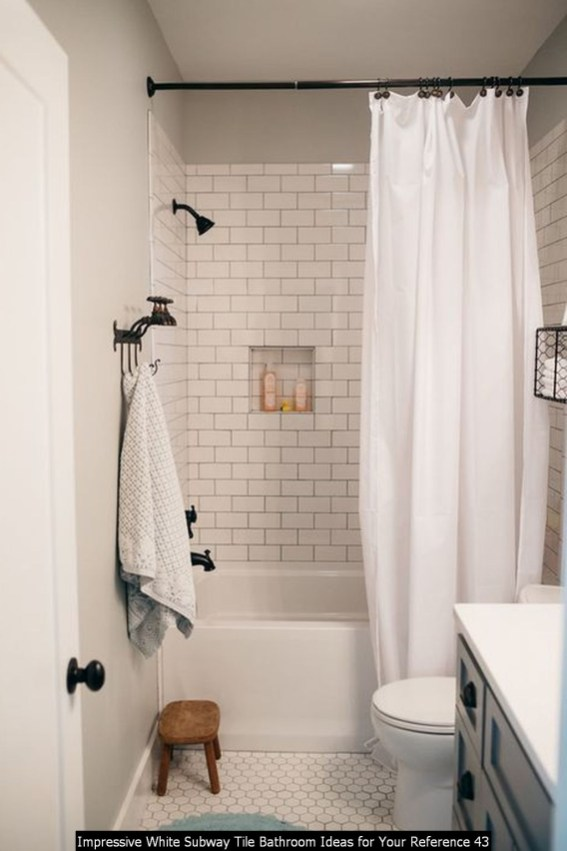 Impressive White Subway Tile Bathroom Ideas For Your Reference 43