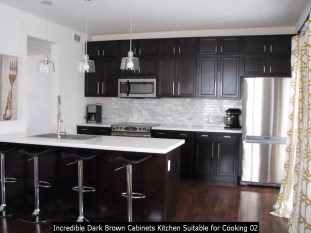 Incredible Dark Brown Cabinets Kitchen Suitable For Cooking 02