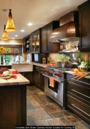 Incredible Dark Brown Cabinets Kitchen Suitable For Cooking 05