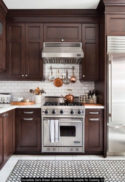 Incredible Dark Brown Cabinets Kitchen Suitable For Cooking 12