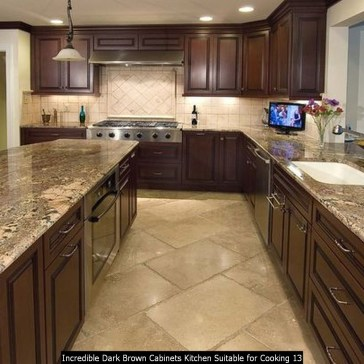 Incredible Dark Brown Cabinets Kitchen Suitable For Cooking 13