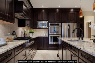 Incredible Dark Brown Cabinets Kitchen Suitable For Cooking 14