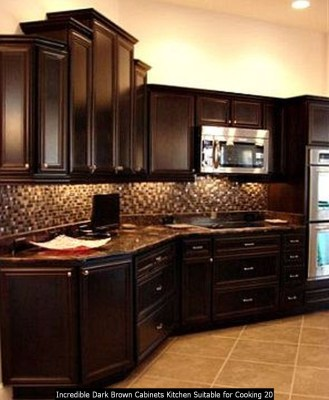 Incredible Dark Brown Cabinets Kitchen Suitable For Cooking 20