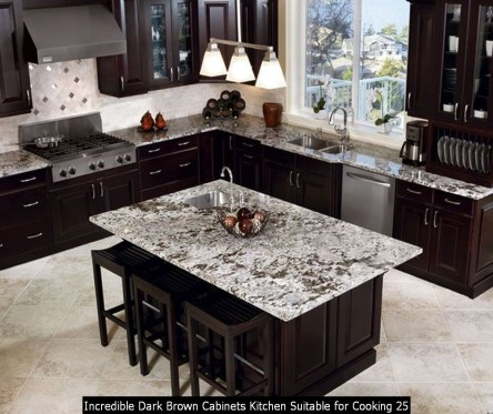 Incredible Dark Brown Cabinets Kitchen Suitable For Cooking 25