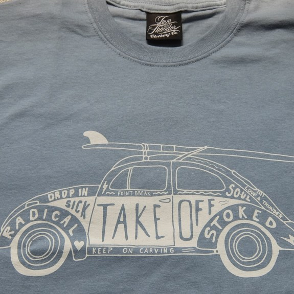 VW Beetle with Surfboard by Love and Thunder Clothing Co.