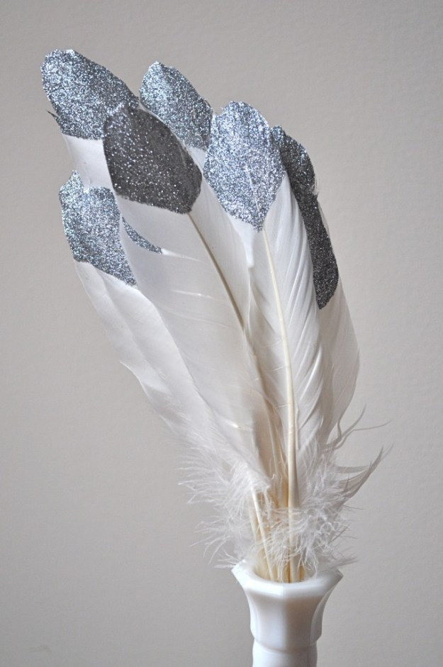 glitter feathers