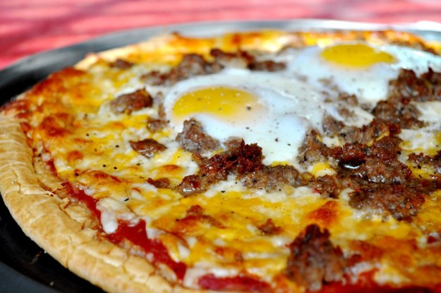 Pizza with an egg on top!