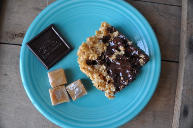 rice krispies with carmel and dark chocolate