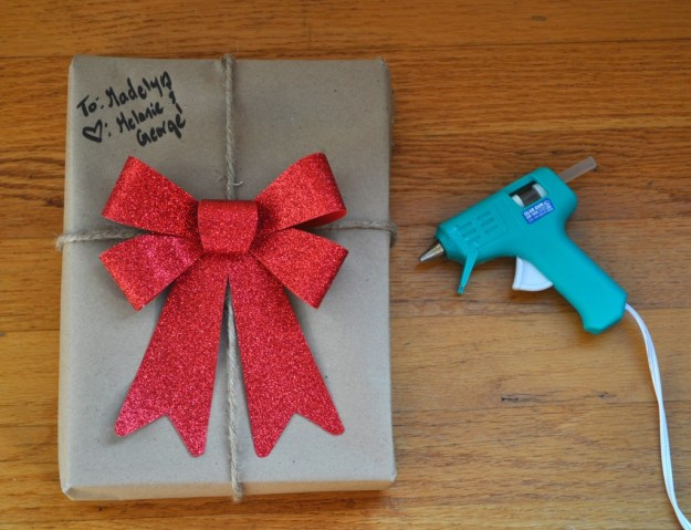 wrap a present with hot glue
