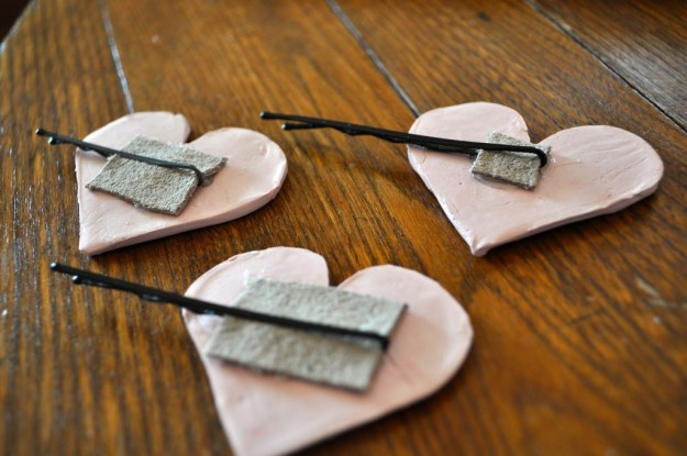 Back of Clay Heart Hair Accessories