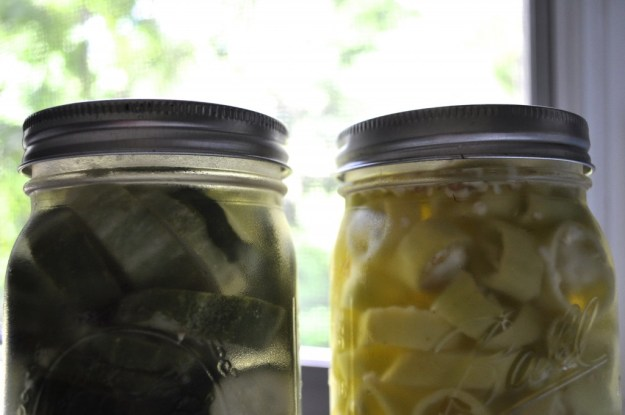 refrigerator pickles and banana peppers
