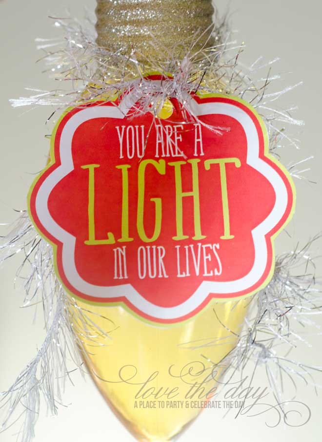 'You Are A Light In Our Lives' Neighbor or Teacher Gift Tag & Idea