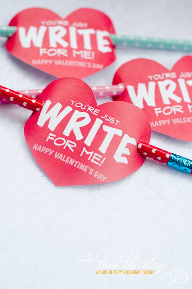 'You're Just Write For Me' Pencil Valentine Tag