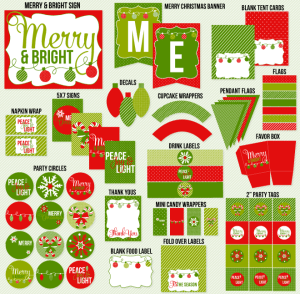 Traditional Christmas Merry & Bright PRINTABLE Party by Love The Day
