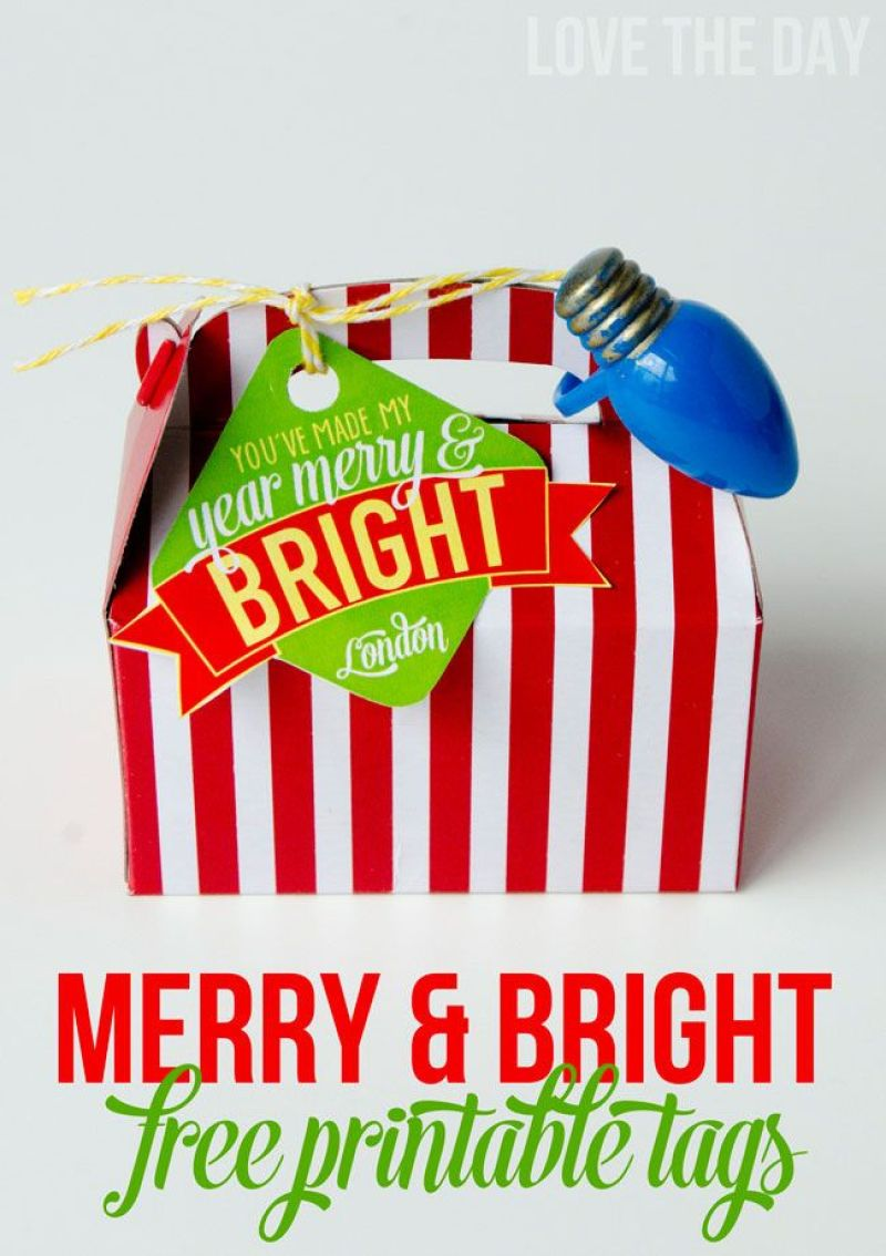 Merry & Bright FREE Christmas Gift Tag by Love The Day