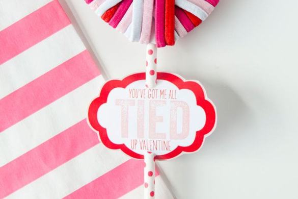 You've Got Me All TIED Up Valentine FREE PRINTABLE and Hair Elastic Heart TUTORIAL by Love The Day