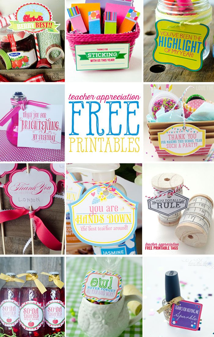 A Collection of FREE Teacher Appreciation Printables on Love The Day