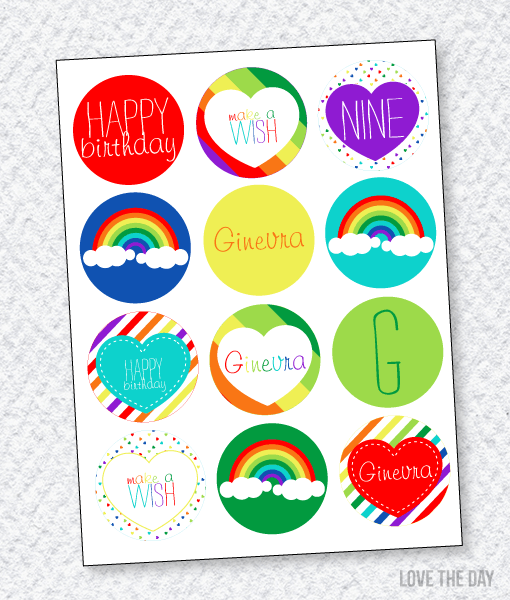 Rainbow Party PRINTABLES:: Party Circles by Lindi Haws of Love The Day