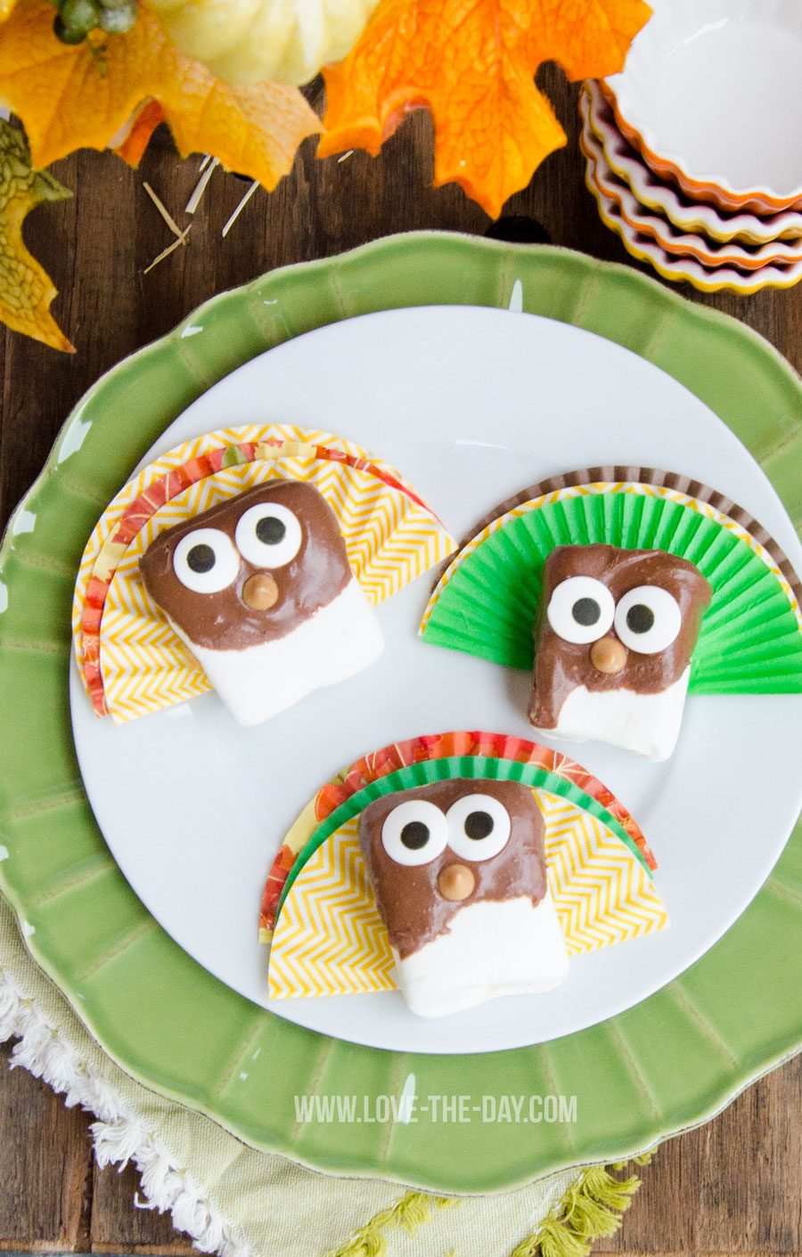 DIY Thanksgiving Treats:: Marshmallow Turkeys by Love The Day
