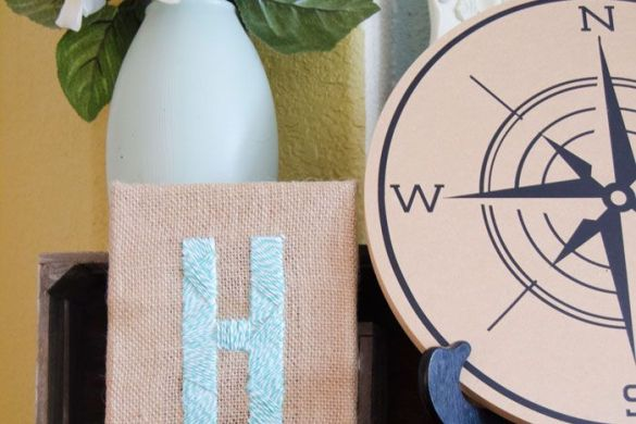 Burlap Canvas Monogram Art by Love The Day