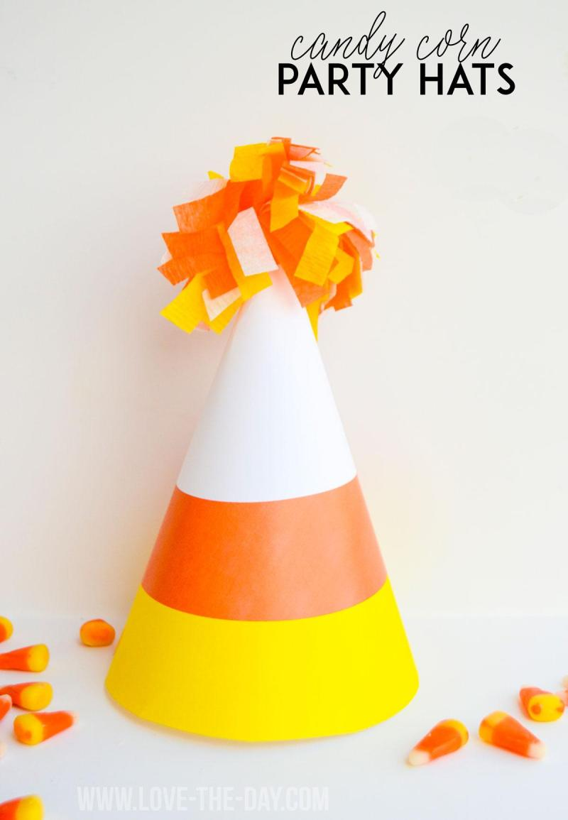Kids Halloween Party Ideas:: Candy Corn Party Hats by Love The Day