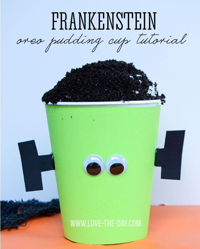 Frankenstein Pudding Cups Tutorial by Love The Day