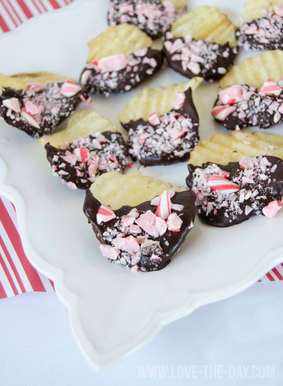 Peppermint Chocolate Covered Potato Chips