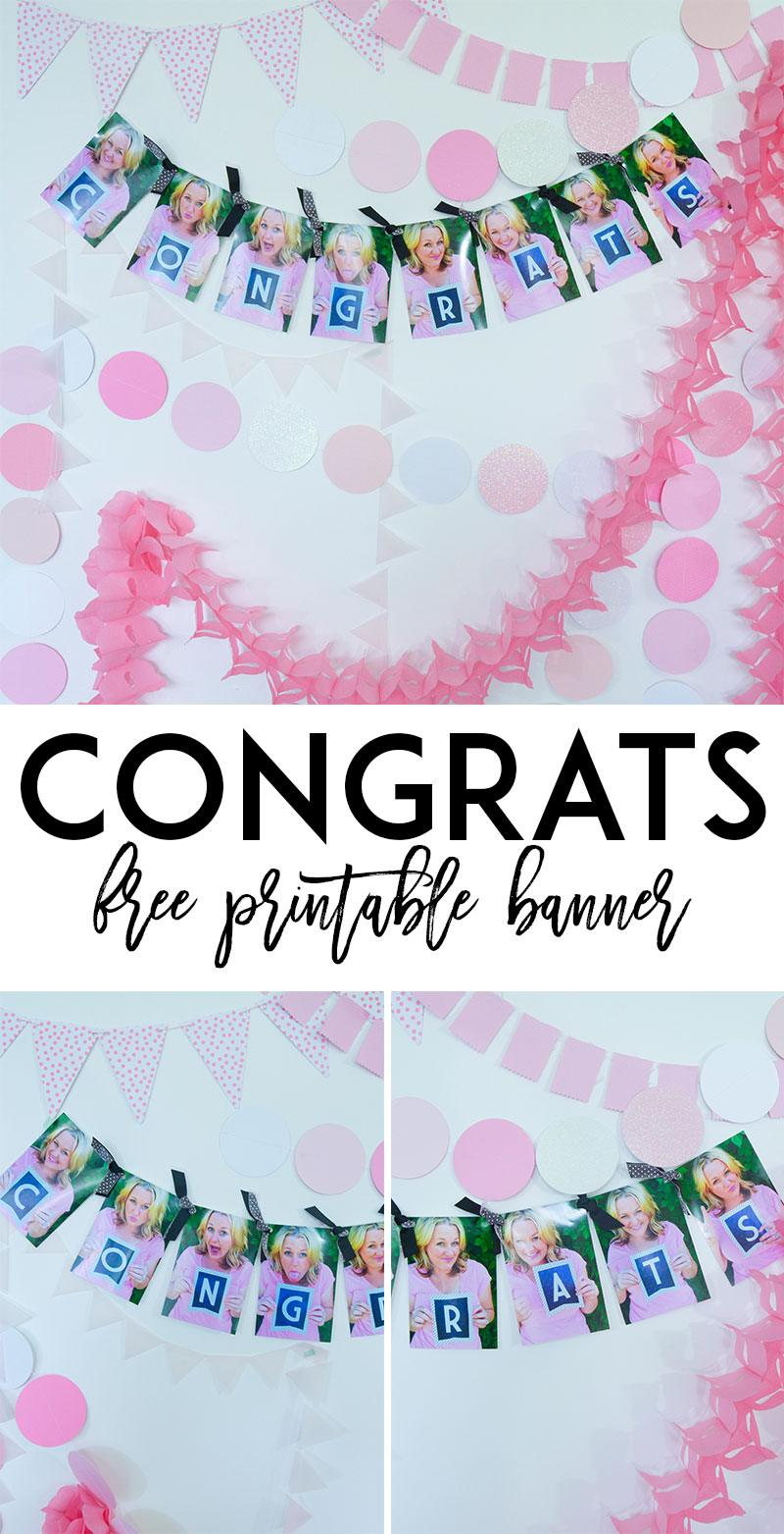 Photo Garland and Free Printable Congratulation Banner by Lindi Haws of Love The Day