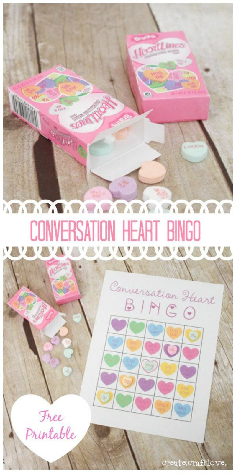 CONVERSATION HEART BINGO|FREE PRINTABLE