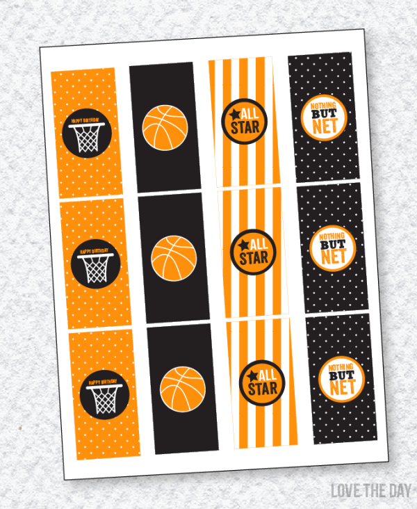 Basketball Party Candy Bar Wrappers by Lindi Haws of Love The Day