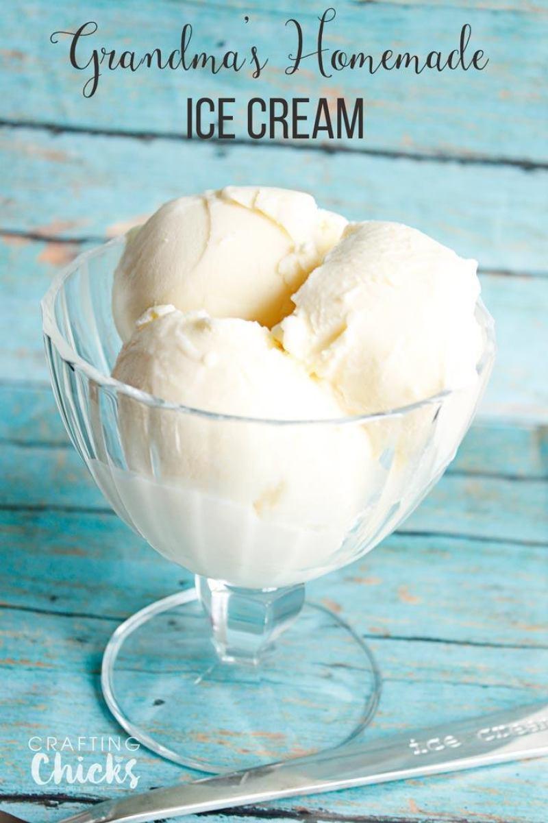 Grandma's Homemade Vanilla Ice Cream. The perfect summer treat!