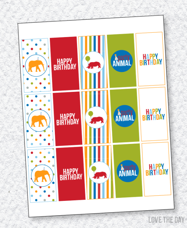 Party Animal PRINTABLES:: Candy Bar Wrappers by Lindi Haws of Love The Day