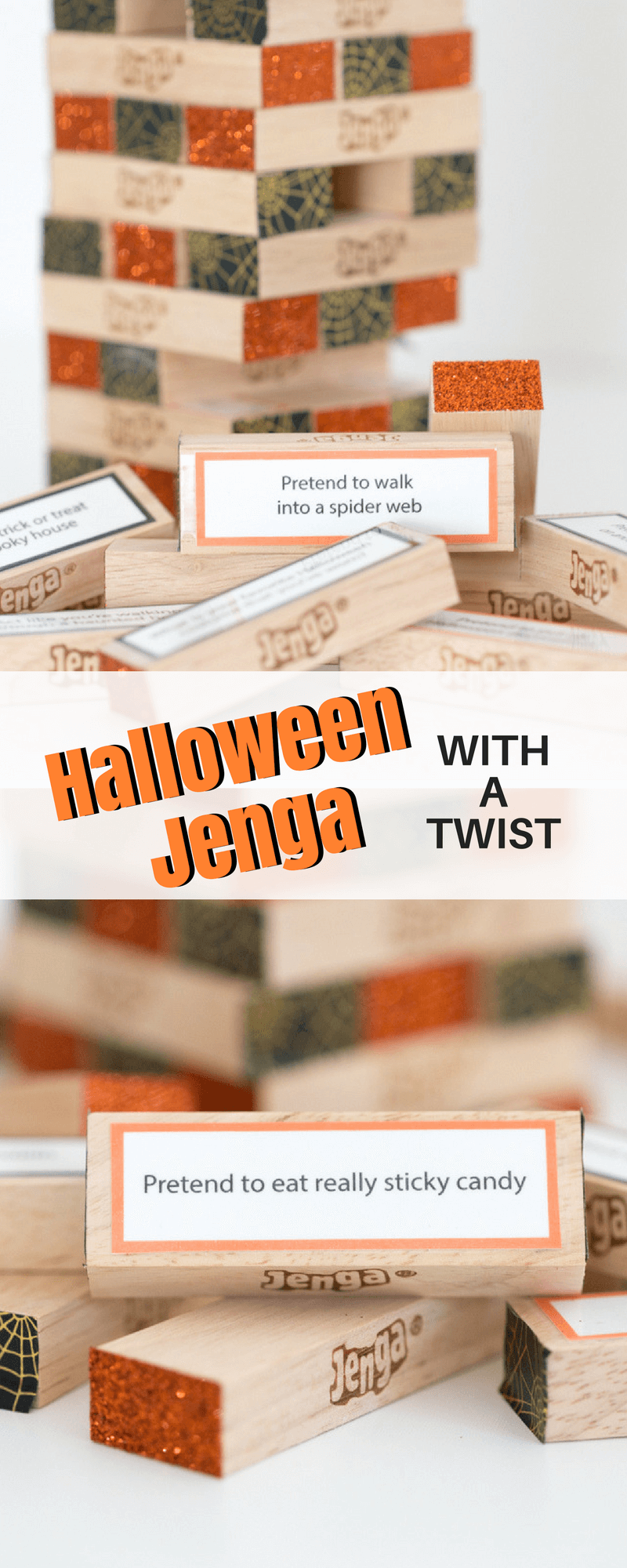 Looking for the perfect Halloween Party Game Idea? This DIY Halloween Jenga with a twist is a fun and festive game that your whole family is sure to enjoy!