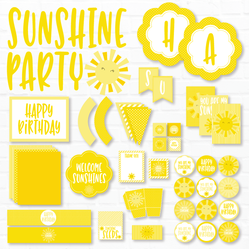 Sunshine Party Printables by Lindi Haws of Love The Day