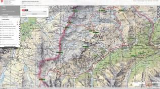 Carte digitale swisstopo avec Trace et Cols