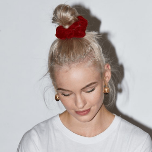 Young women with a scrunchie in her hair